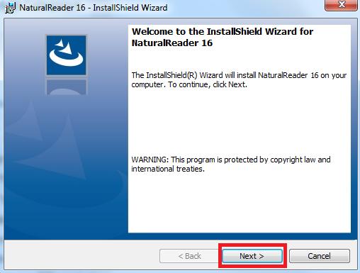 """חלון ההתקנה מס' 2 """"Welcome to the installshield wizard for nturalreader 16"""""""