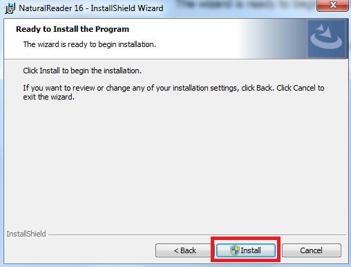 """חלון התקנה מס' 6 """"Ready to install the program"""""""